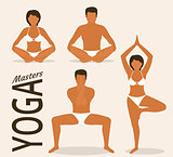 Woman and man are doing yoga