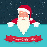 Smiling Santa Claus wearing red hat and glasses greeting card design