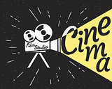 Cinema projector with yellow light hipster stylized poster