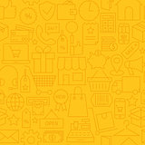 Thin Shopping Business Line Commerce Yellow Seamless Pattern