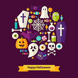 Vector Flat Style Halloween Objects Concept