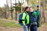 woman and man taking selfie