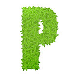 Uppecase letter P consisting of green leaves
