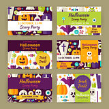 Vector Halloween Party Template Invitation Modern Flat Set