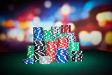 Poker chips with blur background