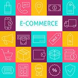 Vector Line Art Modern E-commerce Icons Set