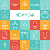 Vector Line Art Modern Happy New Year Holiday Icons Set