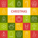 Vector Line Art Modern Merry Christmas Holiday Icons Set
