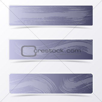 Gray vector banners with brush strokes