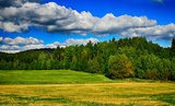 HDR landscape with fields, meadows and forest
