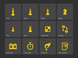 Chess figures and board icons.