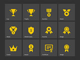 Trophy and awards icons.