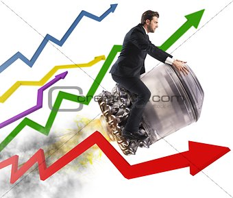 Businessman between stats