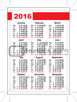 2016 pocket calendar. Template grid. Vertical orientation of days of week