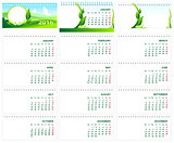 Table desk calendar 2016. Green template calendar 2016