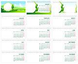 Table desk calendar 2016. Green template calendar 2016