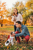 Happy couple walking in autumn park and playing with dogs