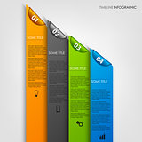 Info graphic with colored stripes and bookmarks template