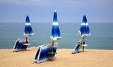 Beach chairs on the sand beach