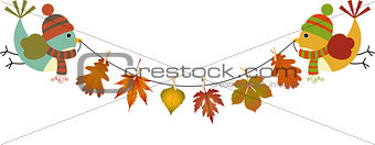 Couple birds holding a garland of fall leaves