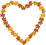 Fall leaves shaped heart frame