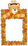 Teddy bear on the autumn leaves frame