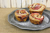 apple rose pastry on pewter