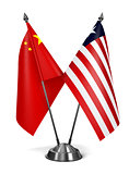 China and Liberia - Miniature Flags.