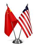 China and Liberia - Miniature Flags.