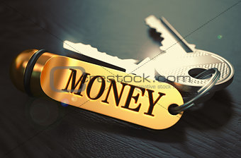 Money - Bunch of Keys with Text on Golden Keychain.