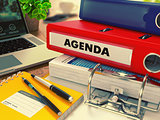 Red Office Folder with Inscription Agenda.