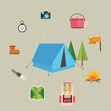 camping hiking icon set of  map tent compass flag  adventure illustration