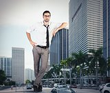 Giant successful businessman