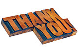 thank you in letterpess wood type