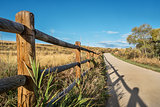 wooden fence and bike trail