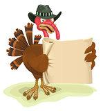 Turkey bird holding sheet of parchment