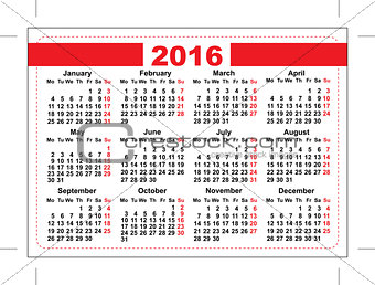 2016 pocket calendar. Template grid. Horizontal orientation days of week