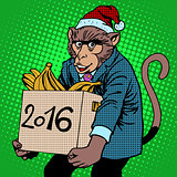 Monkey Santa Claus symbol new year 2016