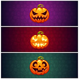 Horizontal Halloween Banners Background with Pumpkin