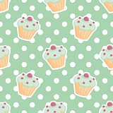 Tile vector pattern with cupcakes and polka dots on mint green background