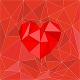 Heart on red wrapping surface vector background