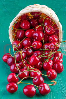 fresh cherries on wooden