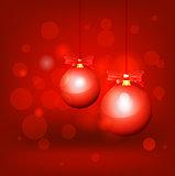 Christmas balls hanging.