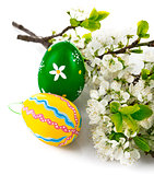 Easter eggs with blooming branch