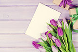 Purple tulip bouquet, greeting card and gifts