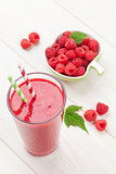 Raspberry smoothie and berries