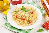 Spaghetti pasta and white wine