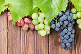 Bunch of grapes on wooden background