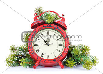 Christmas clock and snow fir tree