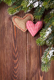 Christmas tree branch with heart toys